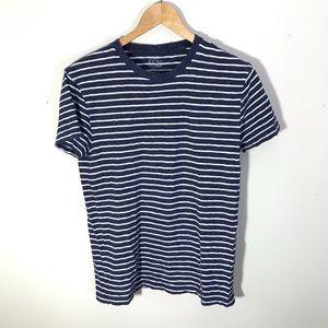 J. Crew Field Knit Blue White Striped T Shirt